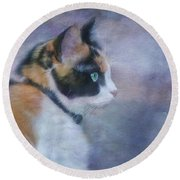 Round Beach Towel featuring the digital art The Calico Staredown  by Colleen Taylor