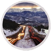 The Call Of The Mountains Round Beach Towel