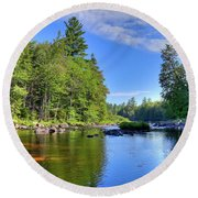 Round Beach Towel featuring the photograph The Calm Below Buttermilk Falls by David Patterson