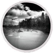Round Beach Towel featuring the photograph The Calm Of Winter by David Patterson