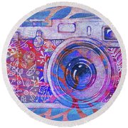 Round Beach Towel featuring the digital art The Camera - 02c3t by Variance Collections