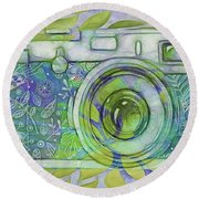 Round Beach Towel featuring the digital art The Camera - 02c5b by Variance Collections