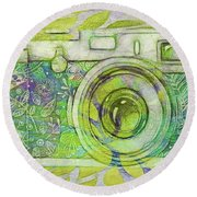 Round Beach Towel featuring the digital art The Camera - 02c5bt by Variance Collections