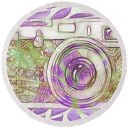 Round Beach Towel featuring the digital art The Camera - 02c6 by Variance Collections