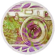Round Beach Towel featuring the digital art The Camera - 02c6t by Variance Collections