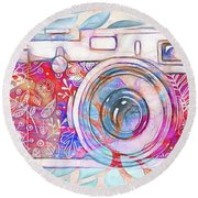 Round Beach Towel featuring the digital art The Camera - 02c8v2 by Variance Collections