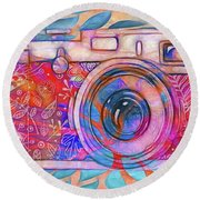 Round Beach Towel featuring the digital art The Camera - 02v2 by Variance Collections