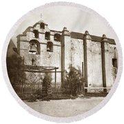 The Campanario, Or Bell Tower Of San Gabriel Mission Circa 1880 Round Beach Towel