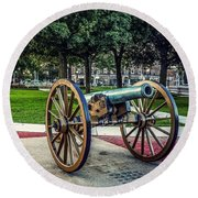 Round Beach Towel featuring the photograph The Cannon In The Park by Kendall McKernon