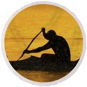 The Canoeist Round Beach Towel by Scott Cameron