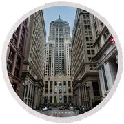 The Canyon In The Financial District Round Beach Towel