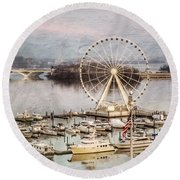 The Capital Wheel At National Harbor Round Beach Towel