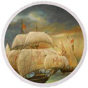 The Caravel Round Beach Towel