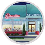 The Carnation Ice Cream Shop Round Beach Towel