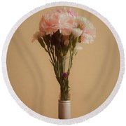 The Carnations Round Beach Towel by Ernie Echols