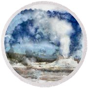 The Castke Geyser In Yellowstone Round Beach Towel