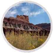 Rock Formation Capital Reef Round Beach Towel