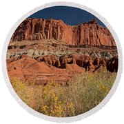 The Castle In Capital Reef Round Beach Towel