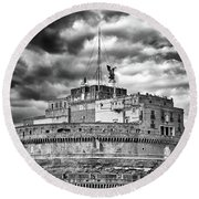 The Castle Of Sant'angelo In Rome Round Beach Towel