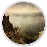 The Castle On The Lake. Malcesine Round Beach Towel