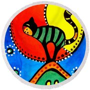 The Cat And The Moon - Cat Art By Dora Hathazi Mendes Round Beach Towel by Dora Hathazi Mendes