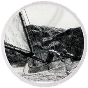 The Cat Boat Round Beach Towel