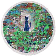 Round Beach Towel featuring the painting The Cat In The Garden by Fabrizio Cassetta