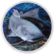 The Catfish And The Crawdad Round Beach Towel by J Vincent Scarpace