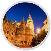 The Cathedral Of Seville Round Beach Towel