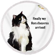Round Beach Towel featuring the painting The Cat's Hors D'oeuvres by Colleen Taylor