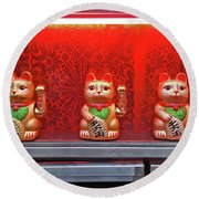 The Lucky Cats Round Beach Towel by Joseph J Stevens