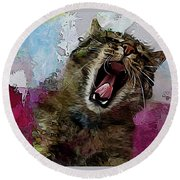 The Cat's Meow Round Beach Towel