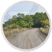 The Causway On Chisolm Island Round Beach Towel