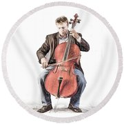 Round Beach Towel featuring the photograph The Cello Player In Sketch by David and Carol Kelly