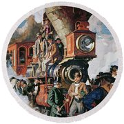 The Ceremony Of The Golden Spike On 10th May Round Beach Towel