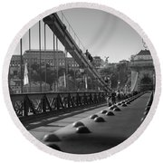 The Chain Bridge, Danube Budapest Round Beach Towel