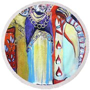 Round Beach Towel featuring the painting The Chains That Bind Us To Christ by Mindy Newman