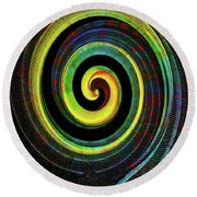 Round Beach Towel featuring the digital art The Chameleon Snake Skin by Steve Taylor