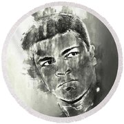 The Champ Monochrome Round Beach Towel by Jack Torcello
