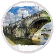 The Charles Bridge - Prague Round Beach Towel by Tom Cameron