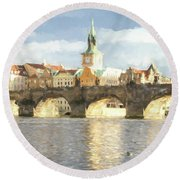 The Charles Bridge Round Beach Towel