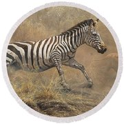 Round Beach Towel featuring the painting The Chase by Alan M Hunt