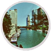 The Chicago River Round Beach Towel