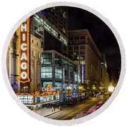 The Chicago Theatre Round Beach Towel