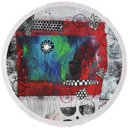 Round Beach Towel featuring the painting The Chosen One by Kate Word