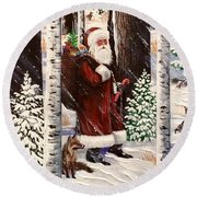 The Christmas Forest Visitor 2 Round Beach Towel