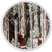 The Christmas Forest Visitor Round Beach Towel