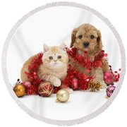 The Christmas Tree Destroyers Round Beach Towel