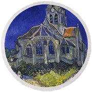 Round Beach Towel featuring the painting The Church At Auvers by Van Gogh
