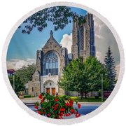 Round Beach Towel featuring the photograph The Church In Summer by Kendall McKernon